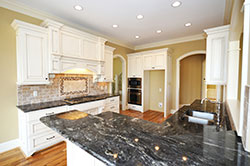 Black Granite kitchen white cabinets - Denver Metro Stone City LLC