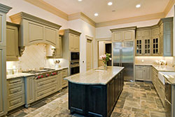 Granite kitchen green cabinets Stone City LLC